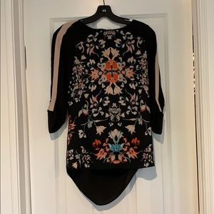 BCBGMaxazria Black Floral Andie Top - Size XXS